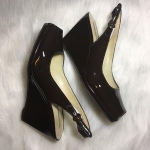 Via Spiga Leather Heels Open Toe Wedges Slingback